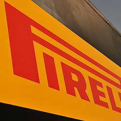 Pirelli Logo during the 2nd day of the F1 young driver/tyre test at the Silverstone Circuit, Northamptonshire on the 18th July 2013.<br /> WAYNE NEAL | SPORTPIX.ORG.UK