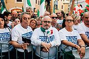 Manifestazione di protesta organizzata dai partiti politici Fratelli d'Italia e Lega in piazza Montecitorio, contro il nuovo governo formato dal Partito Democratico e Movimento 5 stelle. Roma 9 Settembre 2019. Christian Mantuano / OneShot