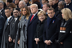 Morocco's King Mohammed VI and his son, first lady Melania Trump, U.S. President Donald Trump, German Chancellor Angela Merkel, Emmanuel Macron and Brigitte Macron.<br /> French President Emmanuel Macron and Brigitte Macron, German Chancellor Angela Merkel, U.S. President Donald Trump, first lady Melania Trump, Morocco's King Mohammed VI, Russian President Vladimir Putin, Australian Governor-General Peter Cosgrove attend a commemoration ceremony for Armistice Day, 100 years after the end of the First World War at the Arc de Triomphe.<br /> Paris,FRANCE-11/11/2018 Photo by Jacques Witt/pool/ABACAPRESS.COM