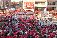 Badger fans watch the UW Marching Band perform at the Badger Bash Homecoming celebration at Union South in 2014.