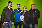 Forest Green Rovers Liam Noble(8) with the match ball sponsors during the EFL Sky Bet League 2 match between Forest Green Rovers and Lincoln City at the New Lawn, Forest Green, United Kingdom on 12 September 2017. Photo by Shane Healey.