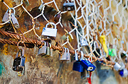 Love locks on the Via dell'Amore, Riomaggiore, Cinque Terre, Liguria, Italy