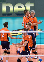 Thijs ter Horst #4, Rob Bontje #17, Gijs Jorna #7 during volleyball match between National teams of Netherlands and Slovenia in Playoff of 2015 CEV Volleyball European Championship - Men, on October 13, 2015 in Arena Armeec, Sofia, Bulgaria. Photo by Ronald Hoogendoorn / Sportida
