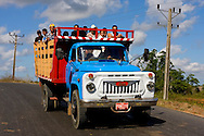 Truck hauling people near Vinales in Pinar del Rio, Cuba.