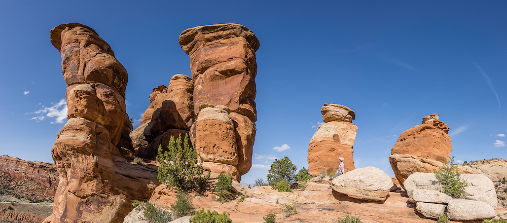 Devils Kitchen rock formation, Colorado National Monument, near Grand Junction and Fruita, Colorado, USA. This desert land is high on the Colorado Plateau dotted with pinion and juniper forests. This panorama was stitched from 8 overlapping photos.