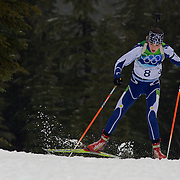 Winter Olympics, Vancouver, 2010.Tanja Karisi, Bosnia & Herzegovina, in action during the Women's 7.5 KM Sprint Biathlon at The Whistler Olympic Park, Whistler, during the Vancouver  Winter Olympics. 13th February 2010. Photo Tim Clayton