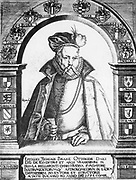 Tycho Brahe (Tyge Ottesen Brahe) (1546-1601) in 1586. Danish astronomer, astrologer and alchemist  who built astronomical instruments which enabled him to make the most accurate observations of his time. His system of the universe (Tychonic system) was a mixture of the Ptolemaic and Copernican systems.   Engraving.