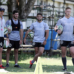 Etienne Oosthuizen with Alan Basson - Zondagh  Rowan Gouws Cobus Reinach Jean-Luc du Preez and Ryan Strudwick (Assistant Coach) of the Cell C Sharks during The Cell C Sharks High CNS Rugby / Skills / Field Conditioning KP2 Pre Season training, session at Growthpoint Kings Park in Durban, South Africa. December 15 2016 (Photo by Steve Haag)<br /> <br /> images for social media must have consent from Steve Haag