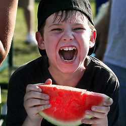 Photo by Andrew Foulk/<br /> A young competitor gets his game face on before the start of a  watermelon eating contest during Wildomar's 2nd Birthday Party.