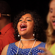 Nygel Robinson, left, Joy Gregory, center, and Beth Swindell rehearse before a performance of Smokey Joe's Cafe Sunday June 15, 2014 at the Scottish Rite Theater in Wilmington, N.C. (Jason A. Frizzelle)