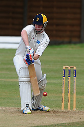 FINEDONS BATSMAN  SIMON BRETT HITS OUT AT WELLINGBOROUGH, Wellingborough Town CC v Finedon 3rds CC, Redwell Road Ground,  Saturday 20th August 2016<br /> Photo:Mike Capps