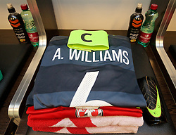 VIENNA, AUSTRIA - Thursday, October 6, 2016: The Wales grey kit of captain Ashley Williams laid out in the away dressing room ahead of the 2018 FIFA World Cup Qualifying Group D match against Austria at the Ernst-Happel-Stadion. (Pic by David Rawcliffe/Propaganda)