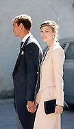 21-09-2013 - Saint-Maximin-La-Sainte-Baume - Prince Felix of Luxembourg (R) and his wife German student Claire Lademacher leave the church after their religious wedding ceremony on September 21, 2013 at the Saint Mary Magdalene Basilica in Saint-Maximin-La-Sainte-Baume, southern France.  COPYRIGHT ROBIN UTRECHT