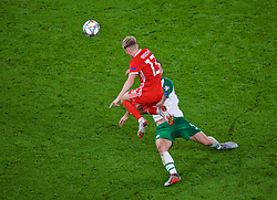 CARDIFF, WALES - Thursday, September 6, 2018: Wales' David Brooks is tackled by Republic of Ireland's Shane Duffy during the UEFA Nations League Group Stage League B Group 4 match between Wales and Republic of Ireland at the Cardiff City Stadium. (Pic by Laura Malkin/Propaganda)