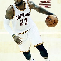 07 June 2017: Cleveland Cavaliers forward LeBron James (23) drives during the Golden State Warriors 118-113 victory over the Cleveland Cavaliers, in game 3 of the 2017 NBA Finals, at  the Quicken Loans Arena, Cleveland, Ohio, USA.