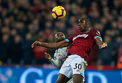 LONDON, ENGLAND - Monday, February 4, 2019: Liverpool's Naby Keita (L) and West Ham United's Michail Antonio during the FA Premier League match between West Ham United FC and Liverpool FC at the London Stadium. (Pic by David Rawcliffe/Propaganda)