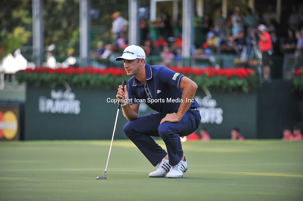 22 September, 2013:  Dustin Johnson lining up his putt on 18 during the final round of the FedEx Cup - The Tour Championship at East Lake Golf Club in Atlanta, Georgia.