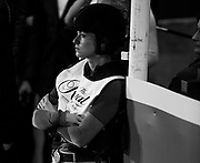 Rachel McDonough prepares to rider in the  Horseware Indoor Eventing challenge at The Royal Horse Show, TORONTO, CANADA.  November 4 2016