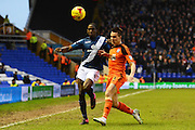 Birmingham City striker Clayton Donaldson and Ipswich Town defender Jonas Knudsen battle for the ball during the Sky Bet Championship match between Birmingham City and Ipswich Town at St Andrews, Birmingham, England on 23 January 2016. Photo by Alan Franklin.