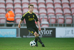 BLACKPOOL, ENGLAND - Wednesday, March 3, 2011: Liverpool's Michael Roberts in action against Blackpool during the FA Premiership Reserves League (Northern Division) match at Bloomfield Road. (Photo by David Rawcliffe/Propaganda)