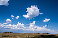 Cumulus mediocris clouds over the plains Colorado.