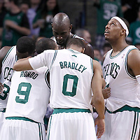 10 May 2012: Boston Celtics power forward Brandon Bass (30), Boston Celtics power forward Kevin Garnett (5), Boston Celtics shooting guard Avery Bradley (0), Boston Celtics small forward Paul Pierce (34) listen to Boston Celtics point guard Rajon Rondo (9) during the Boston Celtics 83-80 victory over the Atlanta Hawks, in Game 6 of the Eastern Conference first-round playoff series, at the TD Banknorth Garden, Boston, Massachusetts, USA.