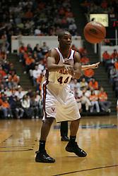Sean Singletary (44) passes the ball against Hartford.  Virginia won the game 71-62...The Virginia Cavaliers defeated Hartford 71-62 at University Hall in Charlottesville, VA on December 31, 2005.