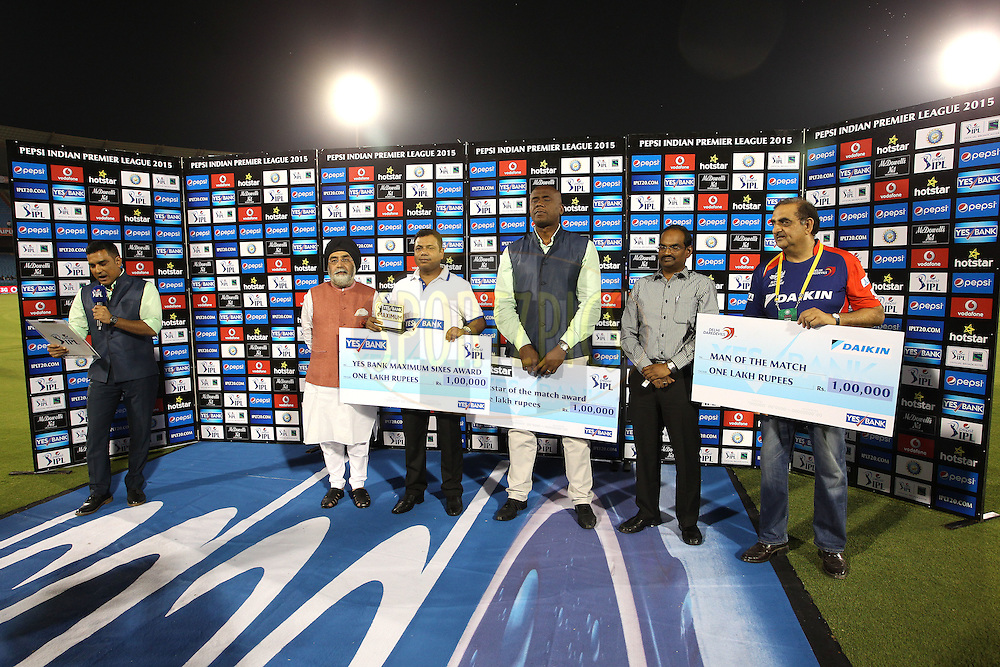 The Post Match Presentation party during match 45 of the Pepsi IPL 2015 (Indian Premier League) between The Delhi Daredevils and the Sunrisers Hyderabad held at the Shaheed Veer Narayan Singh International Cricket Stadium in Raipur, India on the 9th May 2015.<br /> <br /> Photo by:  Shaun Roy / SPORTZPICS / IPL