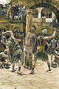 Jesus scourged on the face.  John:9.   Illustration by J.J.Tissot for his 'Life of Our Saviour Jesus Christ', 1897. Oleograph.