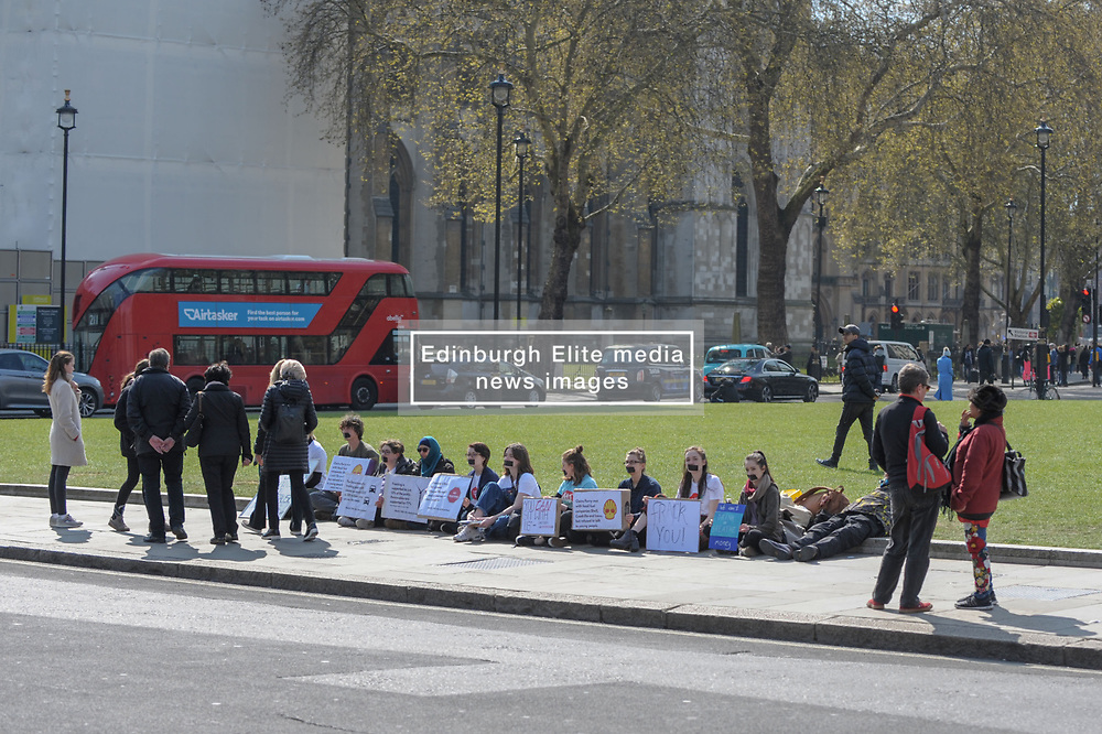 Members of the UK Youth Climate Coalition (UKYCC) staged a silent protest to show how their voices have been shut out of the debate on fracking. The group ask for fracking to be banned for good. <br /> <br /> Richard Hancox   EEm 14042019