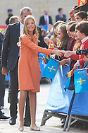 King Felipe VI of Spain, Princess Sofia arrived to Alfonso II Square (Cathedral's Square) for Princesa de Asturias Awards 2019 on October 17, 2019 in Oviedo, Spain