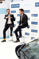 Atletico de Madrid's coach coach Diego Pablo Cholo Simeone (r) and the spanish actor Joaquin Reyes during the presentation of the new Hyundai Ionic. October 10, 2016. (ALTERPHOTOS/Acero)