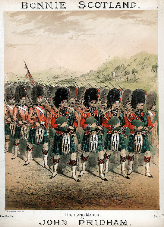 Pipers leading a march; kilted Highland Footguards wearing Busbies and Sporrans. Coloured lithograph from cover of 'Bonnie Scotland' Highland march; composer John Pridham, c1860
