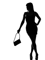 one stylish silhouette caucasian beautiful woman waiting holding purse full length on studio isolated white background