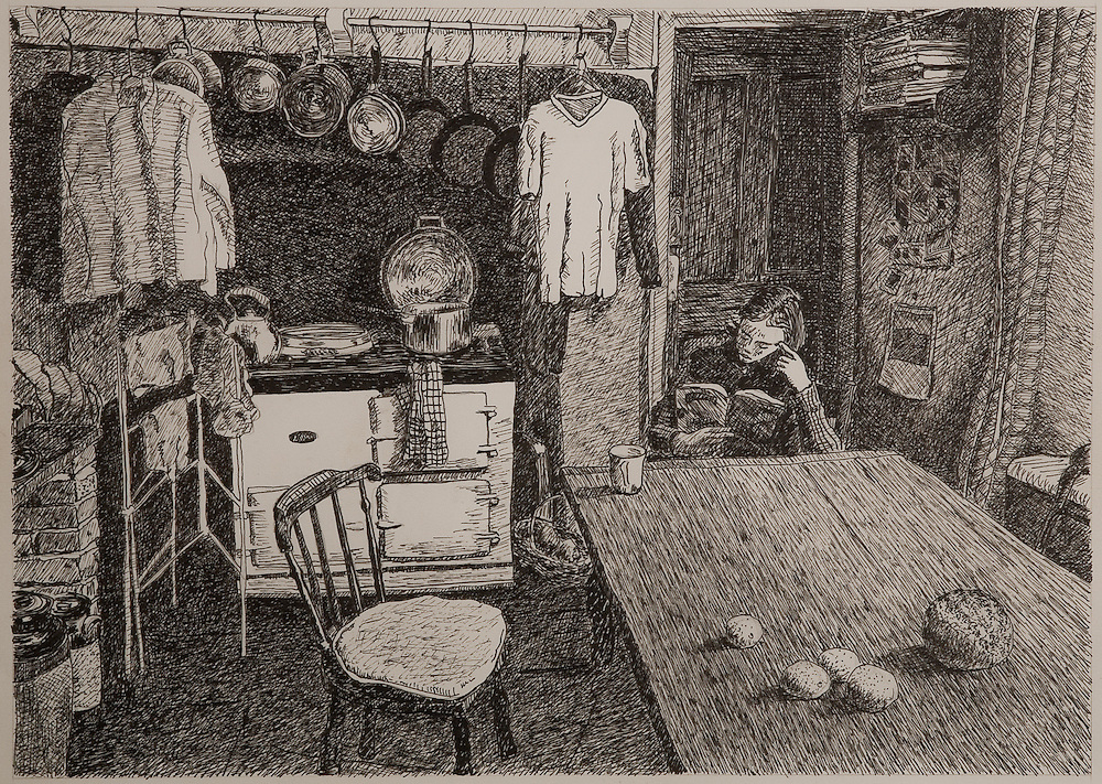 ENGLISH COUNTRY KITCHEN, WINTER, ink, 1992