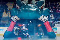 KELOWNA, CANADA - FEBRUARY 8:  Dalton Gally #3 of the Kelowna Rockets enters the ice against the Prince George Cougars on February 8, 2019 at Prospera Place in Kelowna, British Columbia, Canada.  (Photo by Marissa Baecker/Shoot the Breeze)