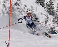 Ryan Cochran-Siegle charges the slalom course at J2 Nationals in Aspen, Colorado Wednesday.  Karen Bobotas/Photographer