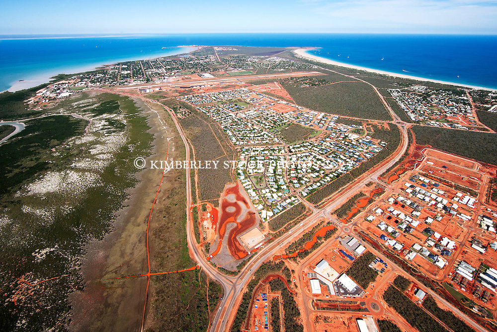 Aerial view of Broome, Western Australia, looking towards Roebuck Bay.