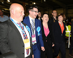 Scottish Conservative party leader Ruth Davidson arrives at the count in Edinburgh with partner Jen Wilson in buoyant mood.<br /> © Dave Johnston/ EEm