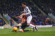 Bradford City defender Matthew Kilgallon (26) injures his shoulder after a challenge with Millwall striker Lee Gregory (9)  during the EFL Sky Bet League 1 match between Bradford City and Millwall at the Northern Commercials Stadium at Valley Parade, Bradford, England on 21 January 2017. Photo by Simon Davies.