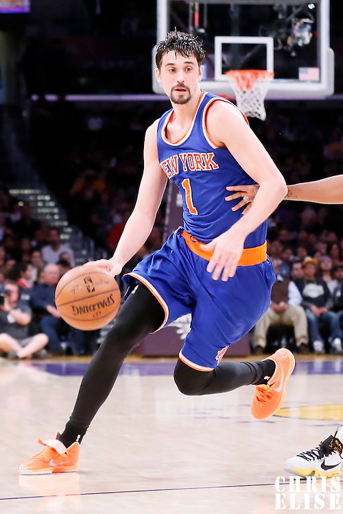 12 March 2015: New York Knicks guard Alexey Shved (1) dribbles during the New York Knicks 101-94 victory over the Los Angeles Lakers, at the Staples Center, Los Angeles, California, USA.