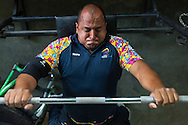 2016/03/08 &ndash; Medellin, Colombia: Joe Gonzalez Bettencourt, 38, lifts weight during a gym session at Atanasio Girardot Stadium, Medellin, 8th March, 2016. <br /> -<br /> Joe was a teenager when a paramilitary group approached him and his friends to become part of the Bloque Cacique Nutibara gang by starting to steal and kill. Joe and his friends refused because they didn&rsquo;t like violence and were more interested in party and living a life like any other normal teenager. But that refuse came with a high price. Joe and his best friend were chased on motorbike and the gang shot them. Joe was hit twice, one bullet hit his neck and another bullet hit his abdomen leaving through the lower back, making him paraplegic. His friend died. <br /> At the time of the incident, Joe was trying to become a football player, so sports were always part of his life. When he understood that he would be on a wheel chair he took on sports to keep going with his life. He started to play basketball, then tennis and in both he was National Champion. It was through his wife, who also is a Paralympics athlete, that he became interested in weigh throwing and javelin. On Joe&rsquo;s second tournament he became national champion, a title that he still holds today. During his progression on the sport he reached 4th in the world. Joe qualified to the Rio 2016 Paralympic games, but due to quota places he might not be able to go, something that he feels is quite unfair after so much work. <br /> Asked about his feeling for the responsible people that shot him, he says, &ldquo;We must be peaceful, forgive, but never forget. I will never forget because everyday I have to sit on this chair&rdquo;. (Eduardo Leal)