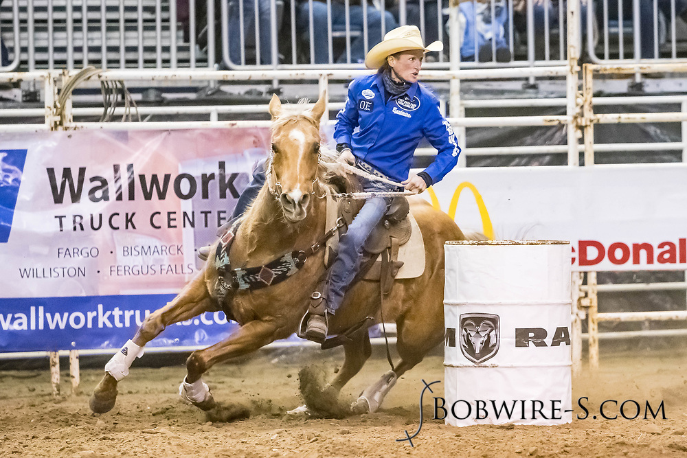Tammy Watson makes her barrel run at the Bismarck Rodeo on Friday, Feb. 2, 2018. She ran a 13.33.