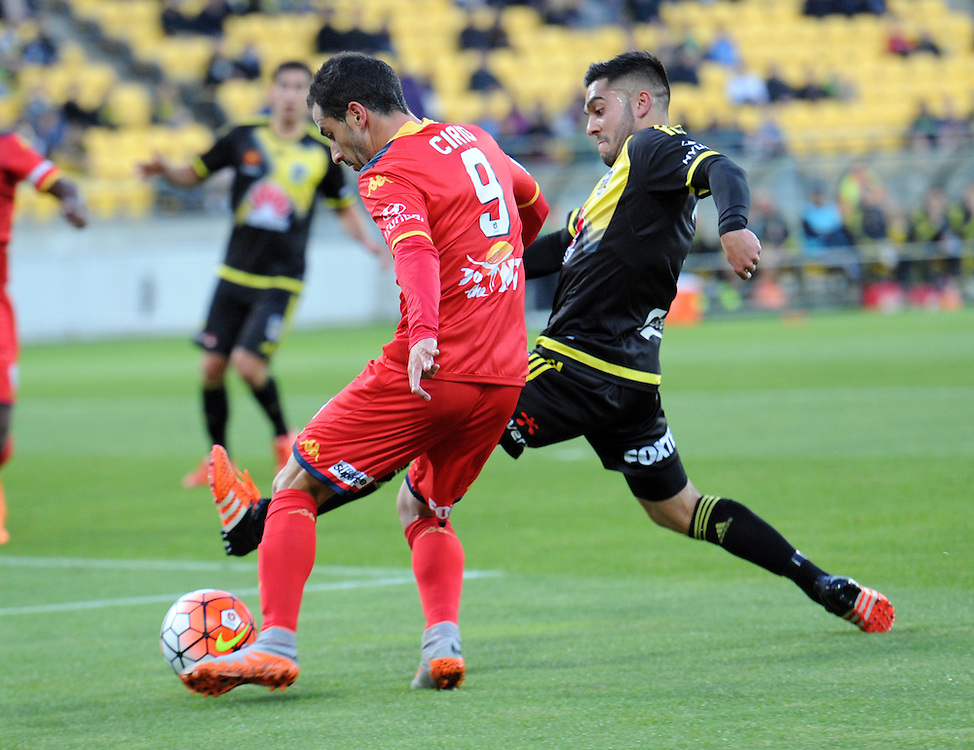 Adelaide United's Sergio Cirio, left, contests the ball with Phoenix's Justin Gulley in the A-League football match at Westpac Stadium, Wellington, New Zealand, Friday, November 13, 2015. Credit:SNPA / Ross Setford