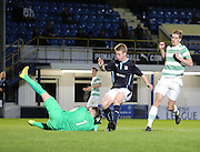 Celtic keeper Leonardo Fasan saves at the feet of Dundee's Josh Skelly  - Celtic v Dundee  SPFL Development League at Cappielow<br /> <br />  - &copy; David Young - www.davidyoungphoto.co.uk - email: davidyoungphoto@gmail.com