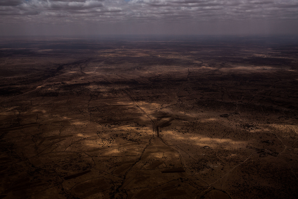 An aerial view of the dried landscape outside of Hargeisa, Somaliland's capital city on March 21, 2017.
