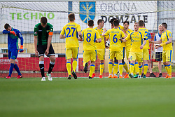 Players of NK Domzale celebrate goal during football match between NK Domzale and NK Rudar in Round #28 of Prva liga Telekom Slovenije 2017/18, on April 22, 2018 in Sports Park Domzale, Domzale, Slovenia. Photo by Urban Urbanc / Sportida