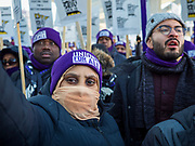 28 FEBRUARY 2020 - MINNEAPOLIS, MINNESOTA: Members of the SEIU Local 26 listen to union leaders during a strike picket at  the Minneapolis St. Paul International Airport. About 4,000 janitorial and custodial workers represented by the Service Employees International Union (SEIU) Local 26 in the Twin Cities are on an Unfair Labor Practices (ULP) strike for better wages and benefits. Friday morning they picketed  the Minneapolis-St. Paul International Airport Friday morning.         PHOTO BY JACK KURTZ