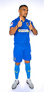 AFC Wimbledon striker Kweshi Appiah (9)during the official team photocall for AFC Wimbledon at the Cherry Red Records Stadium, Kingston, England on 8 August 2019.