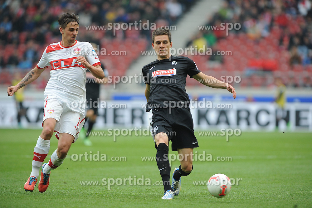 21.04.2013, Mercedes Benz Arena, Stuttgart, GER, 1. FBL, VfB Stuttgart vs SC Freiburg, 30. Runde, im Bild Links Martin HARNIK (VfB Stuttgart), rechts Johannes FLUM (SC Freiburg) // during the German Bundesliga 30th round match between VfB Stuttgart and SC Freiburg at the Mercedes Benz Arena, Stuttgart, Germany on 2013/04/21. EXPA Pictures © 2013, PhotoCredit: EXPA/ Eibner/ Wolfgang Stuetzle..***** ATTENTION - OUT OF GER *****